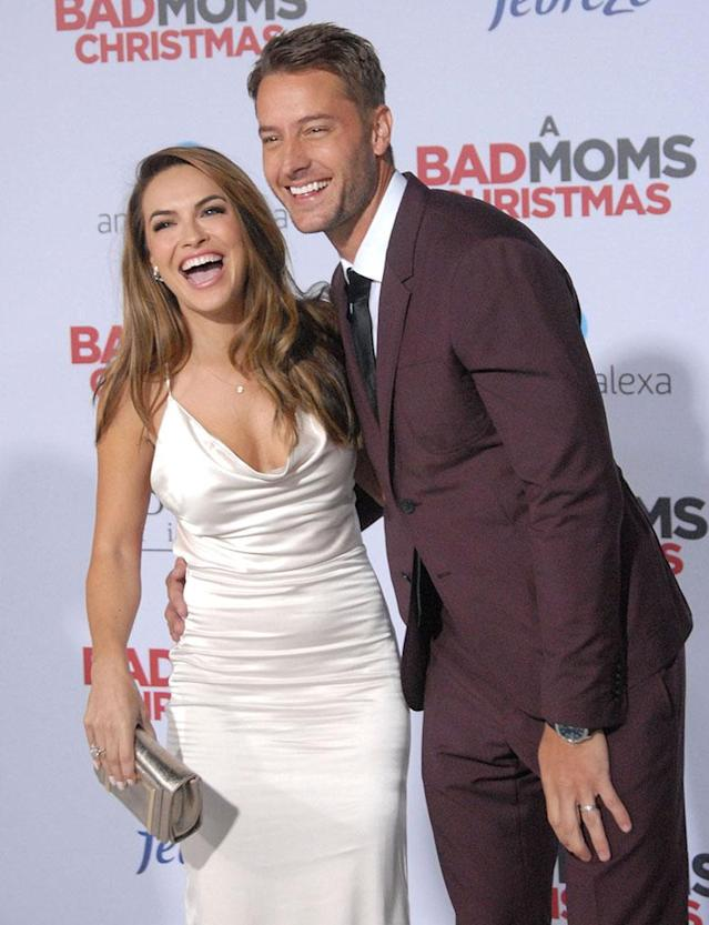 "<p>The newlyweds looked absolutely ecstatic as they walked the red capet for the first time as a <a href=""https://www.yahoo.com/lifestyle/exclusive-details-justin-hartley-chrishell-120041779.html"" data-ylk=""slk:married couple;outcm:mb_qualified_link;_E:mb_qualified_link"" class=""link rapid-noclick-resp newsroom-embed-article"">married couple</a> at the premiere of Hartley's new movie,<em> A Bad Mom's Christmas,</em> on Monday. Their smiles shone almost as bright as their new wedding bands. (Photo: Barry King/Getty Images) </p>"