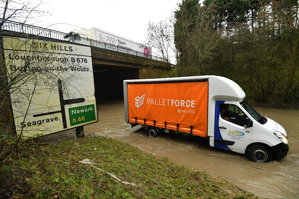 Flooding underneath the A46 at Six Hills Lane in Leicestershire, as Storm Christoph is set to bring widespread flooding, gales and snow to parts of the UK. Heavy rain is expected to hit the UK, with the Met Office warning homes and businesses are likely to be flooded, causing damage to some buildings. Picture date: Wednesday January 20, 2021. (Photo by Jacob King/PA Images via Getty Images)