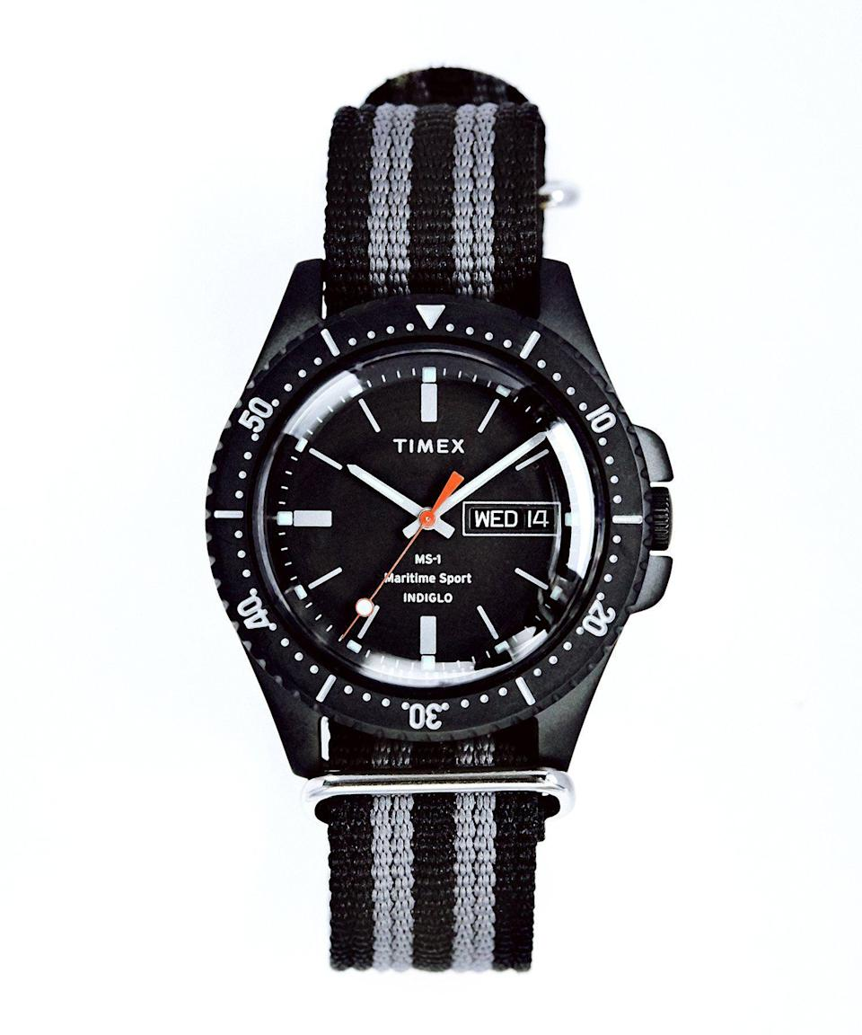 """<p><strong>Timex + Todd Snyder </strong></p><p>toddsnyder.com</p><p><a href=""""https://go.redirectingat.com?id=74968X1596630&url=https%3A%2F%2Fwww.toddsnyder.com%2Fcollections%2Fsale%2Fproducts%2Ftimex-ms1-maritime-sport-black-case-dial-and-strap-black&sref=https%3A%2F%2Fwww.esquire.com%2Fstyle%2Fmens-fashion%2Fg35283750%2Ftodd-snyder-winter-sale-2021%2F"""" rel=""""nofollow noopener"""" target=""""_blank"""" data-ylk=""""slk:Buy"""" class=""""link rapid-noclick-resp"""">Buy</a></p><p><strong>$<del>158</del> $55.30 (65% off)</strong></p><p><a href=""""https://www.esquire.com/style/mens-fashion/g35228990/sea-shanty-tiktok-mens-fashion-outfits-2021/"""" rel=""""nofollow noopener"""" target=""""_blank"""" data-ylk=""""slk:Sea shanty"""" class=""""link rapid-noclick-resp"""">Sea shanty</a> time. </p>"""
