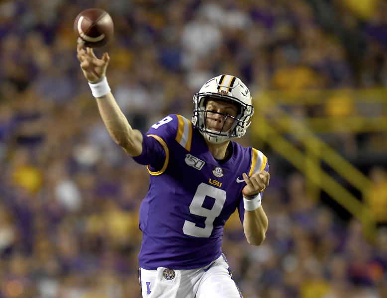 LSU quarterback Joe Burrow (9) throws a completed pass in the first half of an NCAA football game against Northwestern State Saturday in Baton Rouge, La., Sept. 14, 2019. (AP Photo/Patrick Dennis)