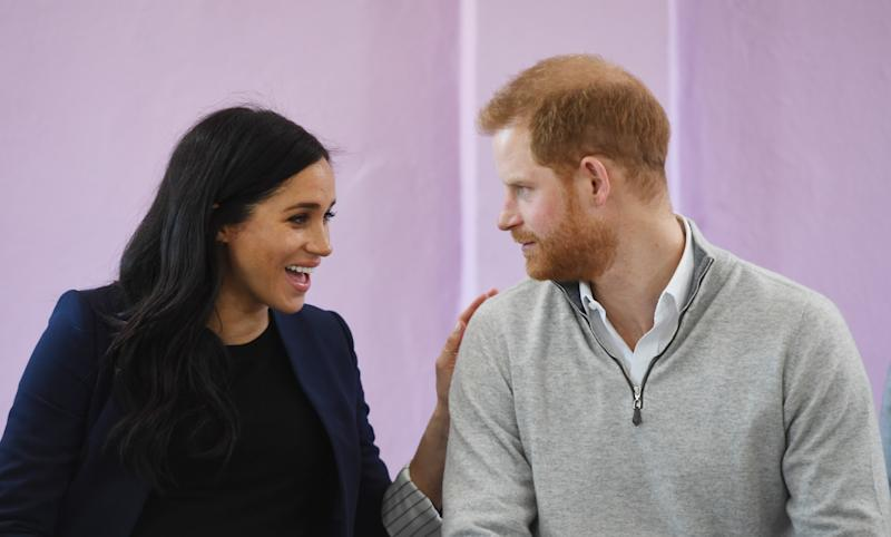 Meghan and Harry at the school in Morocco More