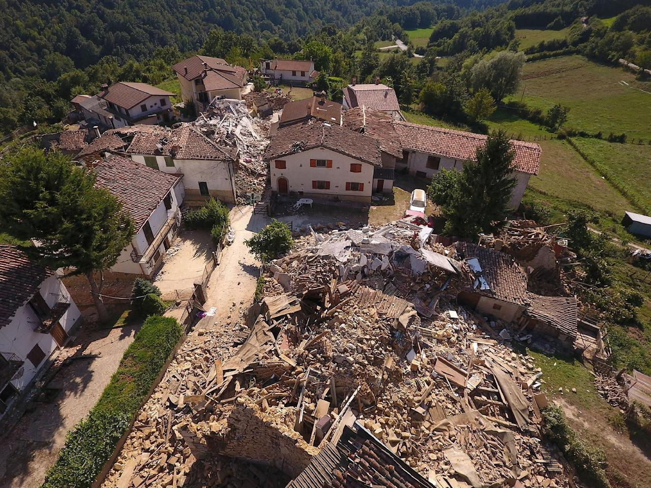 A drone photo shows the damages following an earthquake in Casale, central Italy, August 26, 2016.  REUTERS/Stefano De Nicolo   ATTENTION EDITORS - FOR EDITORIAL USE ONLY. NO RESALES. NO ARCHIVES. ITALY OUT. NO COMMERCIAL OR EDITORIAL SALES IN ITALY.