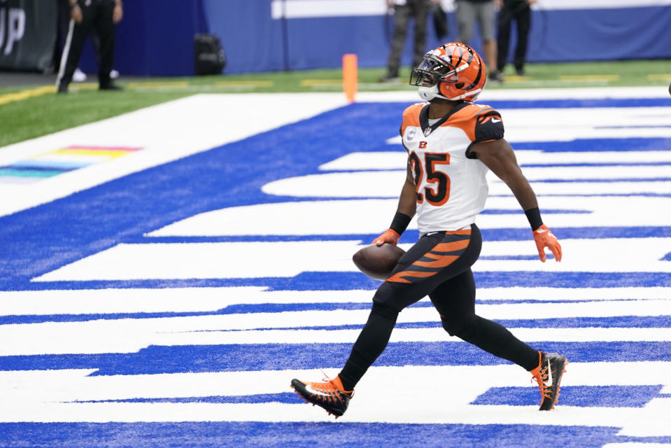 Cincinnati Bengals' Giovani Bernard celebrates after running for a touchdown during the first half of an NFL football game against the Indianapolis Colts, Sunday, Oct. 18, 2020, in Indianapolis. (AP Photo/AJ Mast)