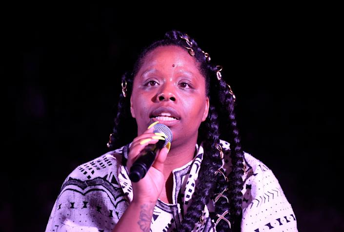 <p>Patrisse Cullors speaks at her Thesis Solo Show on 18 April 2019 in Los Angeles, California.</p> ((Getty Images for Patrisse Cullors))