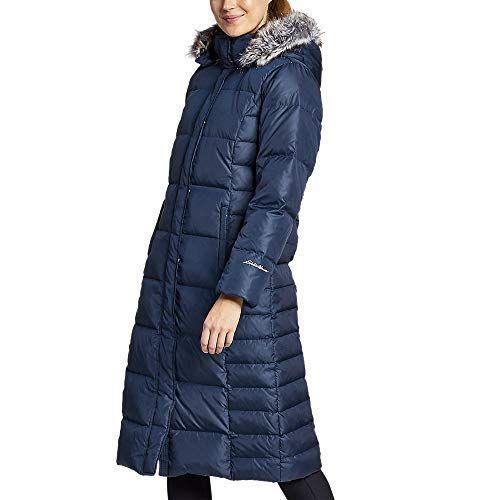"""<p><strong>Eddie Bauer</strong></p><p>amazon.com</p><p><strong>$179.40</strong></p><p><a href=""""https://www.amazon.com/dp/B01L7TJ6KW?tag=syn-yahoo-20&ascsubtag=%5Bartid%7C10049.g.34439448%5Bsrc%7Cyahoo-us"""" rel=""""nofollow noopener"""" target=""""_blank"""" data-ylk=""""slk:Shop Now"""" class=""""link rapid-noclick-resp"""">Shop Now</a></p><p>Want to give your winter wardrobe some head-to-toe appeal? Check out this option from Eddie Bauer. This quilted style hits just below the knee, so it'll keep you very warm once a cold spell hits. It also has a faux fur-lined hood, which gives this jacket a fashionable edge. Eddie Bauer knows people come in different shapes and sizes, so it has a range of petite, regular, and tall sizes. </p><p><strong>Reviews:</strong> 534<br><strong>Rating: </strong>4.6/5 <strong><br>Sizes:</strong> X-Small—3X (petite, regular, and tall sizes available)</p>"""