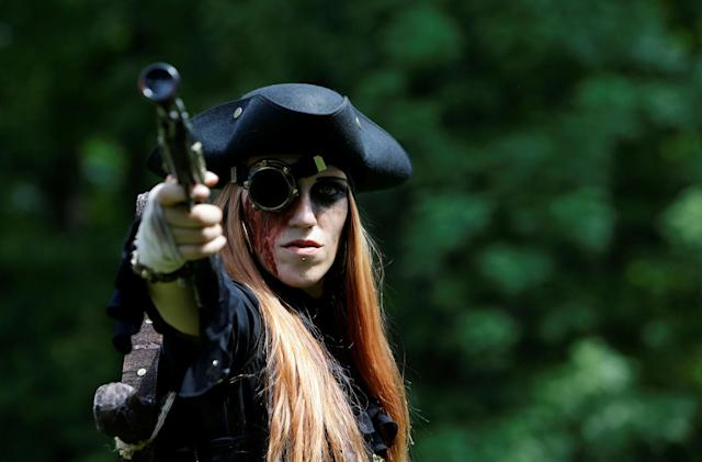 <p>A reveller attends the Victorian Picnic during the Wave and Goth festival in Leipzig, Germany, June 2, 2017. (David W Cerny/Reuters) </p>