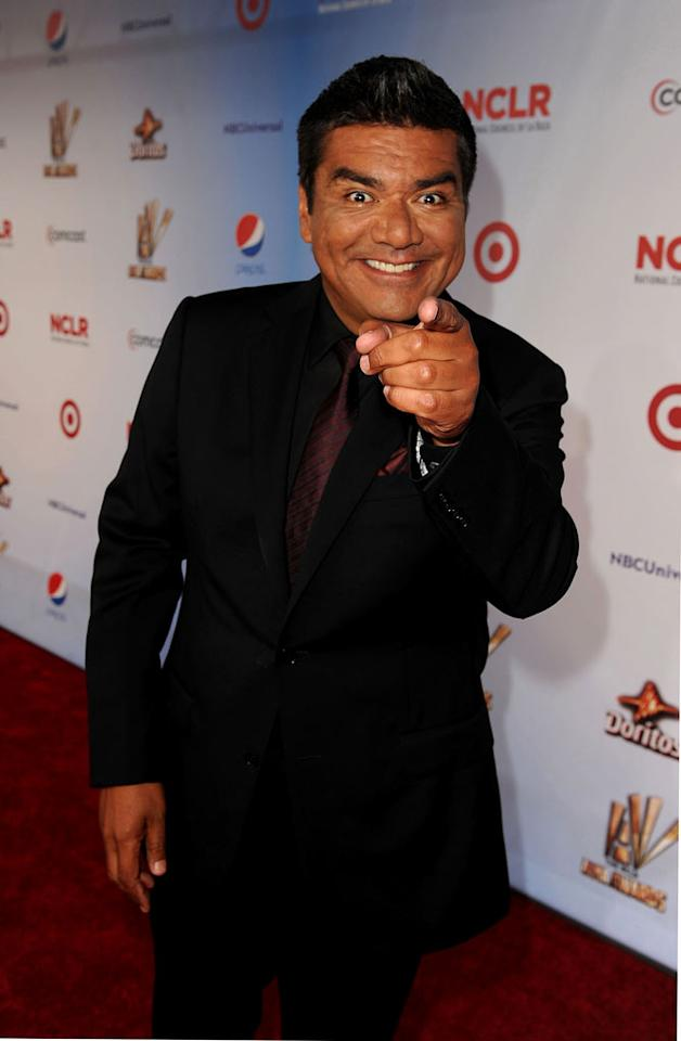 "Eva's ALMA Awards co-host George Lopez goofed around with the photogs on the red carpet. And he apparently got a very nice gift from Ms. Longoria, too. ""Thanks @EvaLongoria for the bottle of Don Julio 1942,"" George tweeted on Saturday. ""Getting ready to Host!"" Kevin Winter/<a href=""http://www.gettyimages.com/"" target=""new"">GettyImages.com</a> - September 10, 2011"