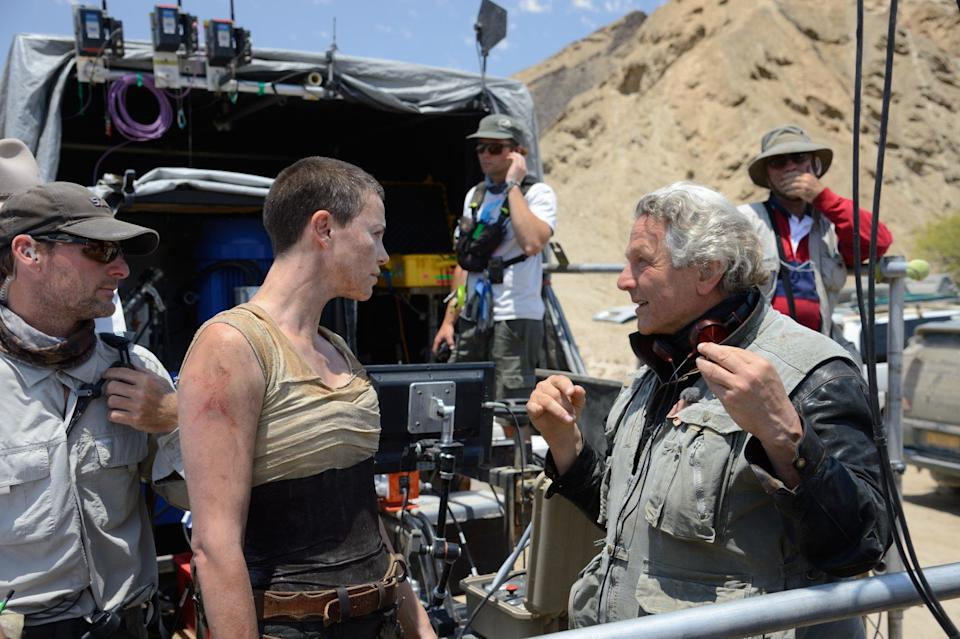 Theron and Miller on the set of Fury Road (Credit: Warner Bros)
