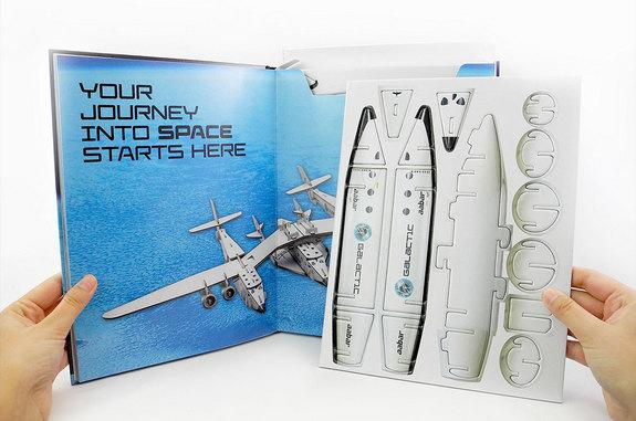"""Make Your Own SpaceShipTwo,"" one of seven new titles under a new partnership between Virgin Galactic and DK, includes pop-out parts to build a model of the commercial spacecraft."