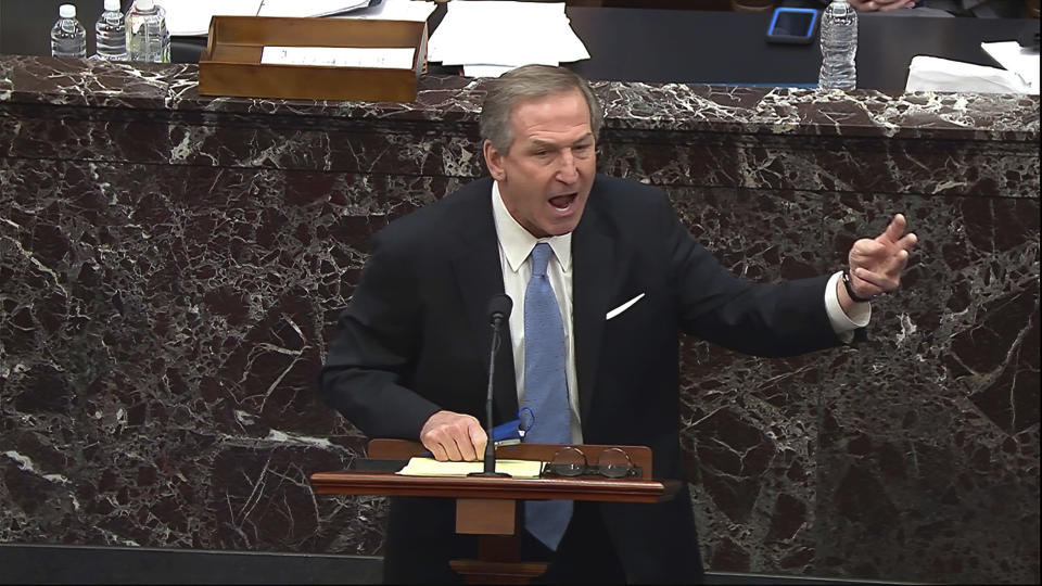 In this image from video, Michael van der Veen, an attorney for former President Donald Trump, speaks about the motion to call witnesses during the second impeachment trial of former President Donald Trump in the Senate at the U.S. Capitol in Washington, Saturday, Feb. 13, 2021. (Senate Television via AP)