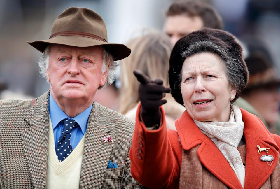 CHELTENHAM, UNITED KINGDOM - MARCH 10: (EMBARGOED FOR PUBLICATION IN UK NEWSPAPERS UNTIL 24 HOURS AFTER CREATE DATE AND TIME) Andrew Parker-Bowles and Princess Anne, Princess Royal attend day 1 'Champion Day' of the Cheltenham Festival 2020 at Cheltenham Racecourse on March 10, 2020 in Cheltenham, England. (Photo by Max Mumby/Indigo/Getty Images)