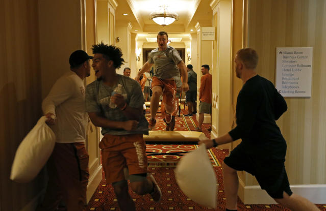 Texas Longhorns' Sam Ehlinger and teammates run through an obstacle course at the team hotel Saturday Sept. 7, 2019 Austin, Tx. ( Photo by Edward A. Ornelas )