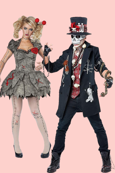 """<p>No pins and needles here: Just because you and your partner dress the part doesn't mean that you come with the doll's magical powers — and good thing. </p><p><a class=""""link rapid-noclick-resp"""" href=""""https://go.redirectingat.com?id=74968X1596630&url=https%3A%2F%2Fwww.spirithalloween.com%2Fproduct%2Fhalloween-costumes%2Fwomens-costumes%2Fwomens-horror-costumes%2Fadult-voodoo-dolly-costume%2Fpc%2F4742%2Fc%2F1326%2Fsc%2F726%2F103774.uts&sref=https%3A%2F%2Fwww.goodhousekeeping.com%2Fholidays%2Fhalloween-ideas%2Fg33300823%2Fscary-couples-costumes%2F"""" rel=""""nofollow noopener"""" target=""""_blank"""" data-ylk=""""slk:SHOP WOMEN'S COSTUME"""">SHOP WOMEN'S COSTUME </a></p><p><a class=""""link rapid-noclick-resp"""" href=""""https://go.redirectingat.com?id=74968X1596630&url=https%3A%2F%2Fwww.spirithalloween.com%2Fproduct%2Fadult-voodoo-magic-costume%2F134833.uts%3FExtid%3Dsf_froogle&sref=https%3A%2F%2Fwww.goodhousekeeping.com%2Fholidays%2Fhalloween-ideas%2Fg33300823%2Fscary-couples-costumes%2F"""" rel=""""nofollow noopener"""" target=""""_blank"""" data-ylk=""""slk:SHOP MEN'S COSTUME"""">SHOP MEN'S COSTUME</a></p>"""