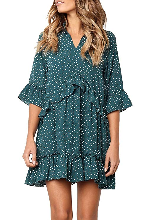 "<br><br><strong>Mitilly</strong> Ruffled Swing Dress, $, available at <a href=""https://amzn.to/2kGN06Y"" rel=""nofollow noopener"" target=""_blank"" data-ylk=""slk:Amazon"" class=""link rapid-noclick-resp"">Amazon</a>"