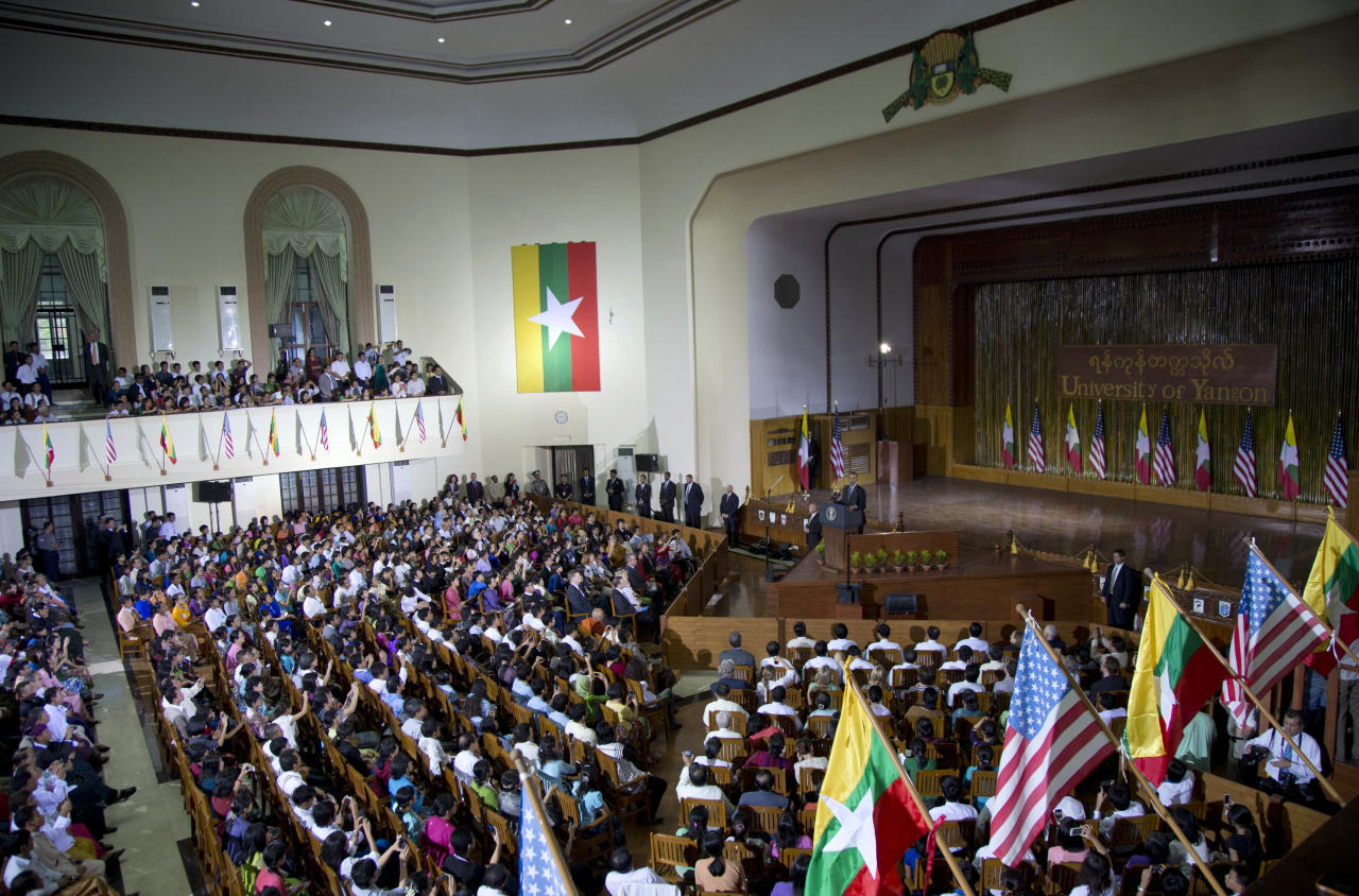 U.S. President Barack Obama speaks at Yangon University in Yangon, Myanmar, Monday, Nov. 19, 2012. This is the first visit to Myanmar by a sitting U.S. president. (AP Photo/Carolyn Kaster)