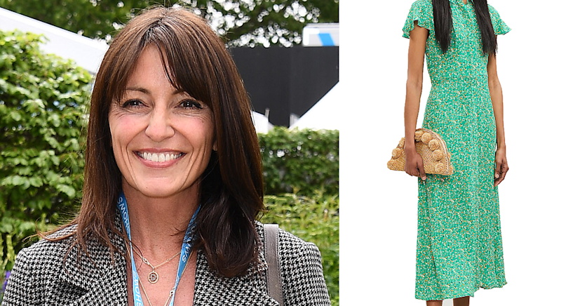 Davina McCall stunned in a Whistles dress that is still available to buy now [Photo: Getty Images/ Selfridges]