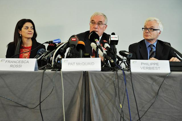 GENEVA, SWITZERLAND - OCTOBER 22: Cycling Anti-doping Foundation (CADF) Director Dr Francesca Rossi, UCI President Pat McQuaid and UCI Lawyer Philippe Verbiest inform media representatives on the UCI position concerning the USADA decision on the Armstrong case on October 22, 2012 in Geneva Switzerland. Cyclist Lance Armstrong has been banned for life and stripped of his Tour de France titles having been accused of leading 'the most sophisticated, professionalized and successful doping program that sport has ever seen' according to USADA officials. (Photo by Harold Cunningham/Getty Images)