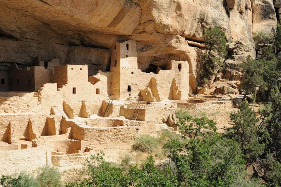 """<p><a href=""""https://www.nps.gov/meve/index.htm"""" rel=""""nofollow noopener"""" target=""""_blank"""" data-ylk=""""slk:Mesa Verde National Park"""" class=""""link rapid-noclick-resp""""><strong>Mesa Verde National Park</strong></a></p><p>This park houses almost 5,000 archeological sites, including the famed cliff dwellings of the ancestral Pueblo people who lived here from 600 to 1300 CE. </p>"""