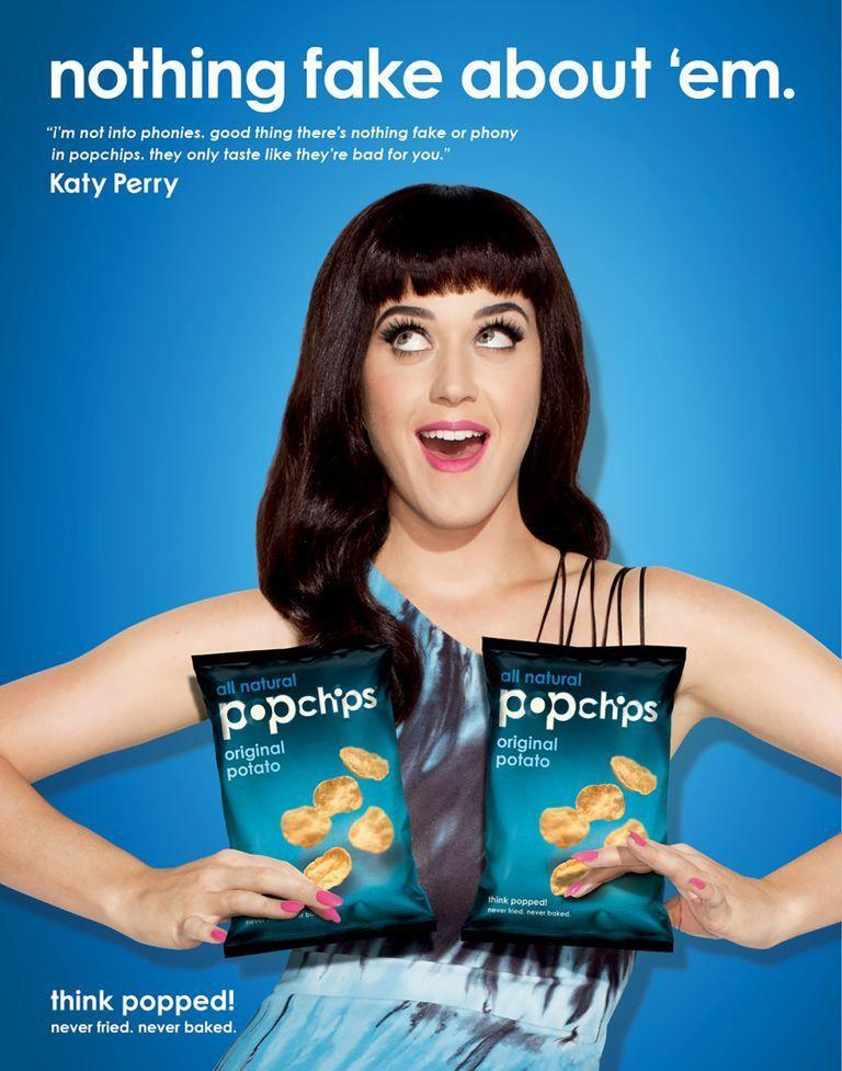 "<p>Following Ashton's bellyflop of a campaign for Pop Chips, Katy Perry was tapped for the brand, appearing in four print ads back in 2012. The ads feature jokes about vampires and fake boobs (""nothing fake about 'em"") in addition to decently witty food puns (""spare me the guilt chip"").</p>"