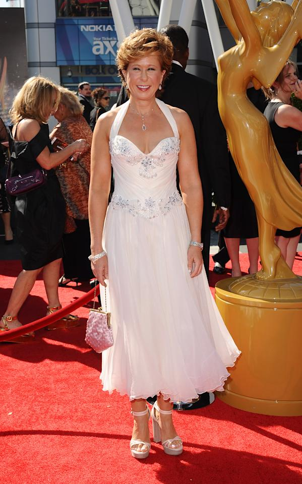 Yeardley Smith arrives at the 2013 Primetime Creative Arts Emmy Awards, on Sunday, September 15, 2013 at Nokia Theatre L.A. Live, in Los Angeles, Calif. (Photo by Scott Kirkland/Invision for Academy of Television Arts & Sciences/AP Images)