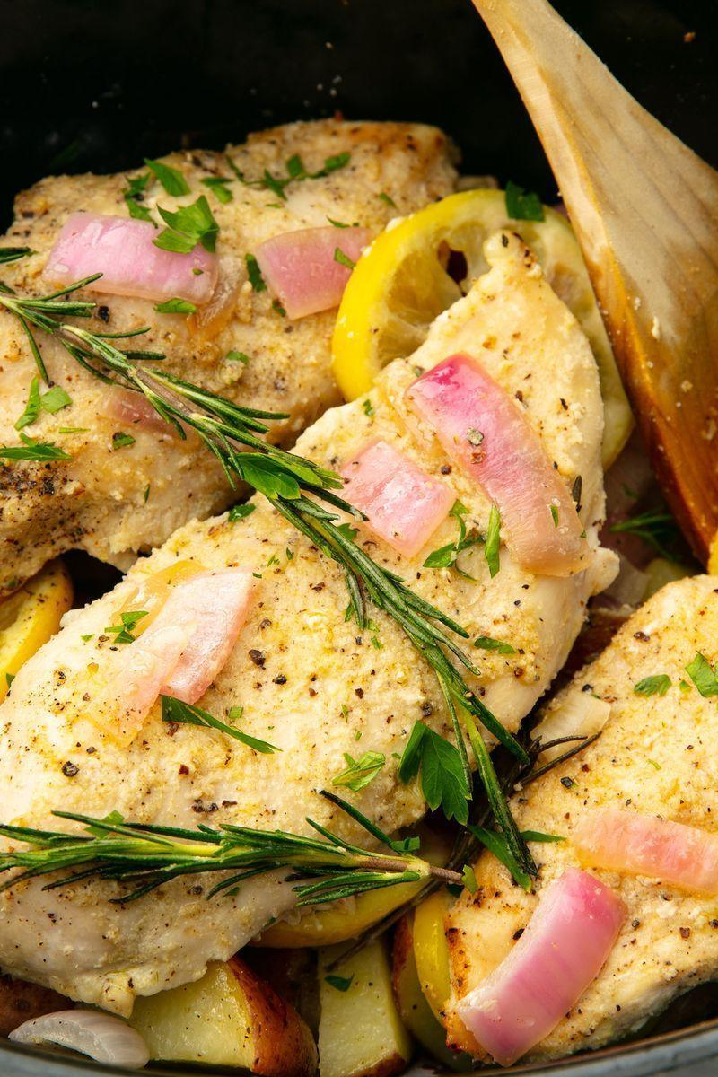 "<p>Out of all the ways to cook chicken, slow cooking breasts is one of our favourites. It's so easy and the chicken breasts (which have a bad rep for drying out) stay nice and juicy. All you need to do is throw several chicken breasts in the slow cooker in the morning and let them go. </p><p>Get the <a href=""https://www.delish.com/uk/cooking/recipes/a30178365/easy-slow-cooker-chicken-breast-recipe/"" rel=""nofollow noopener"" target=""_blank"" data-ylk=""slk:Slow Cooker Chicken Breast"" class=""link rapid-noclick-resp"">Slow Cooker Chicken Breast</a> recipe.</p>"