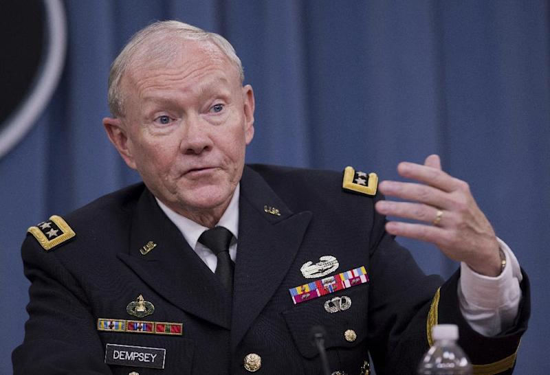"FILE - In this Dec. 4, 2013 file photo, Joint Chiefs Chairman Gen. Martin Dempsey speaks during a news conference at the Pentagon. Dempsey said Wednesday that the impasse over a security agreement between the U.S. and Afghanistan is encouraging the enemy to take bold actions and could lead some Afghan forces to align with the Taliban to ""hedge their bets."" (AP Photo/Manuel Balce Ceneta, File)"