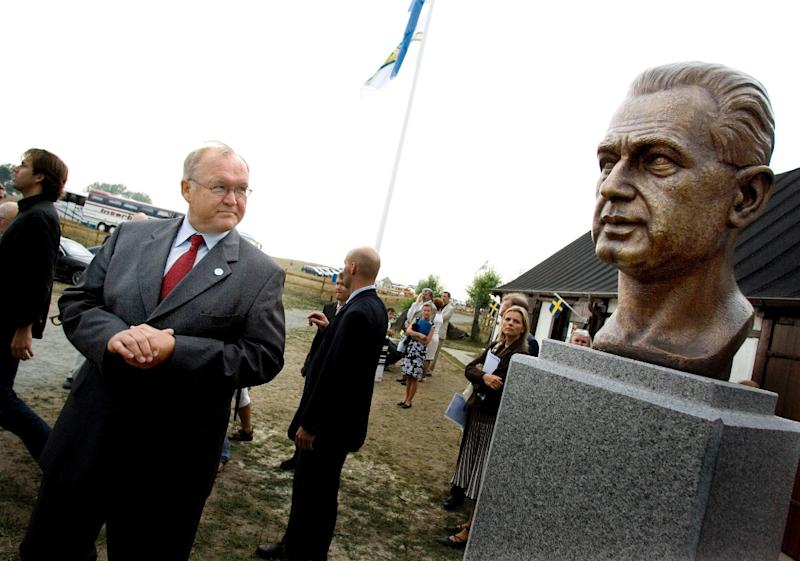 Dag Hammarskjold, the UN secretary-general who died on a peacemaking mission in what is now the Democratic Republic of the Congo, is memoralized with a bronze bust at his country house, Backakra, in Skane, Southern Sweden (AFP Photo/Ola Torkelsson)