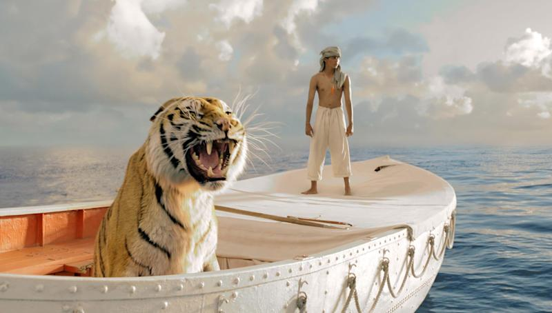 """This publicity film image released by 20th Century Fox shows Suraj Sharma in a scene from """"Life of Pi,"""" directed by Ang Lee. The film was nominated for an Academy Award for best picture on Thursday, Jan. 10, 2013. The 85th Academy Awards will air live on Sunday, Feb. 24, 2013 on ABC. (AP Photo/20th Century Fox, Jake Netter, File)"""