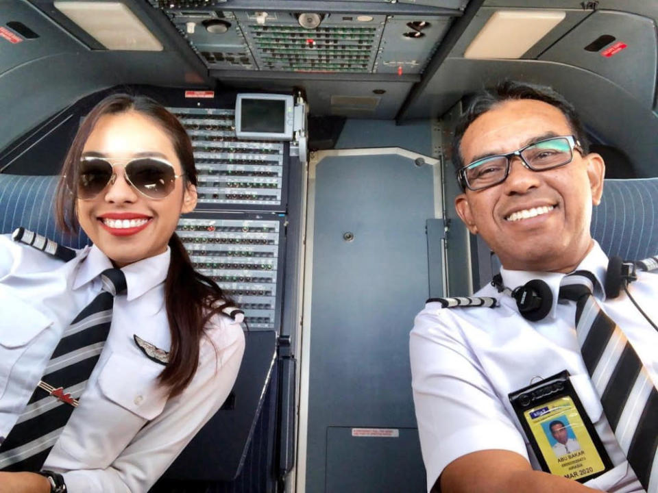 Amira and her dad were working together as pilots at AirAsia before the pandemic hit. — Picture courtesy of AirAsia