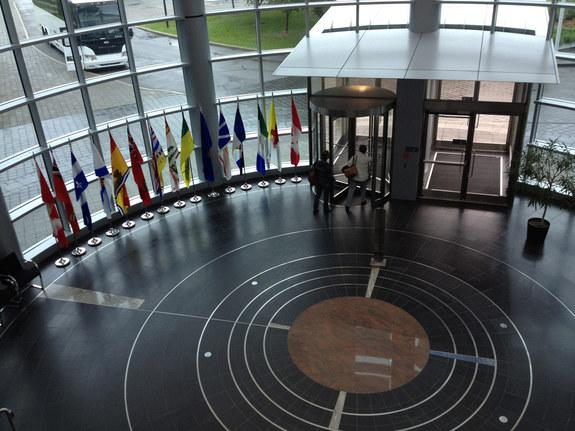 The lobby of the Canadian Space Agency emphasizes international collaboration as well as art that looks a lot like planetary orbits.