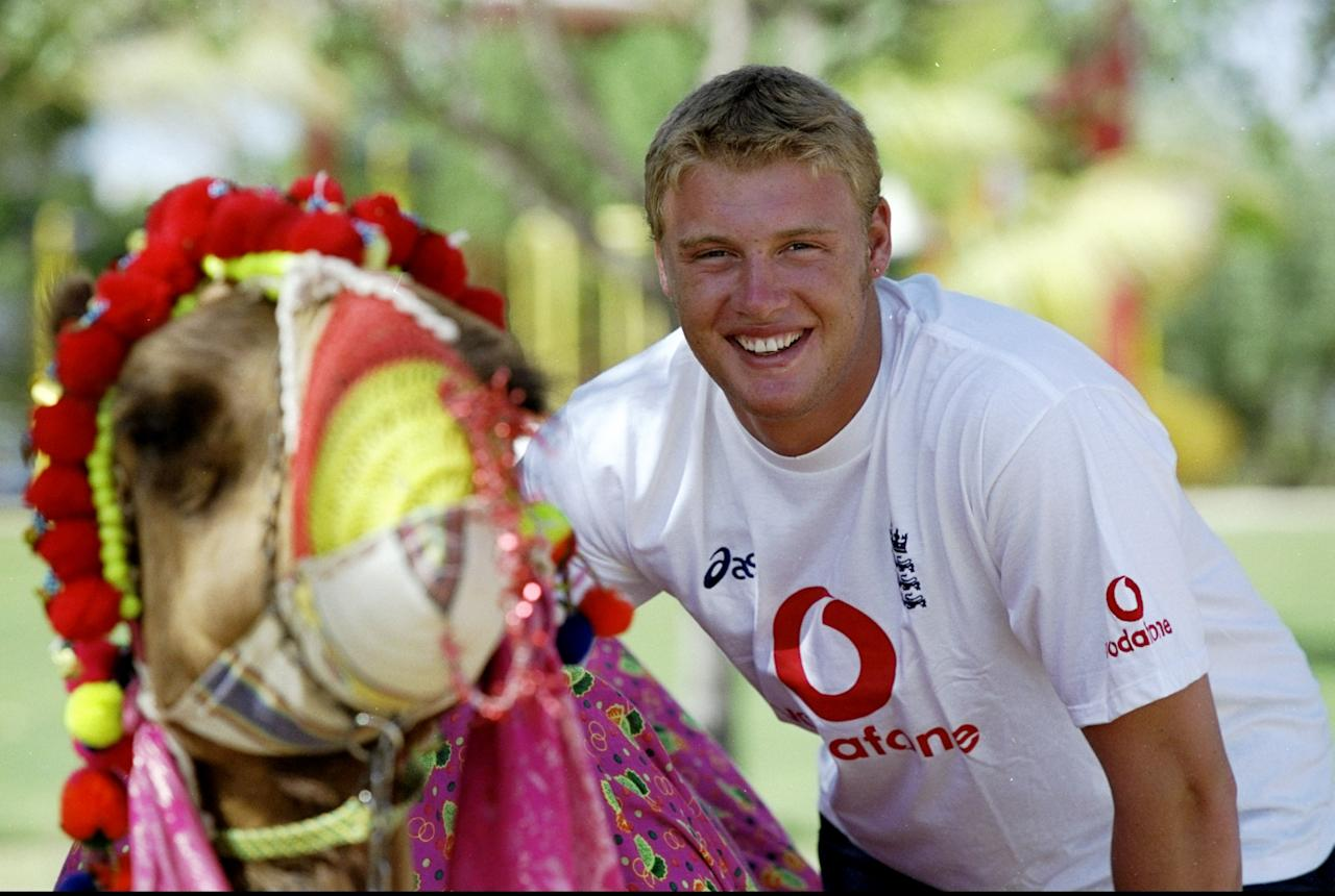 10 Apr 1999:  Andrew Flintoff of England prepares to ride a camel on a day off during the Coca-Cola Cup at the Sharjah CA Stadium in the United Arab Emirates. \ Mandatory Credit: Laurence Griffiths /Allsport