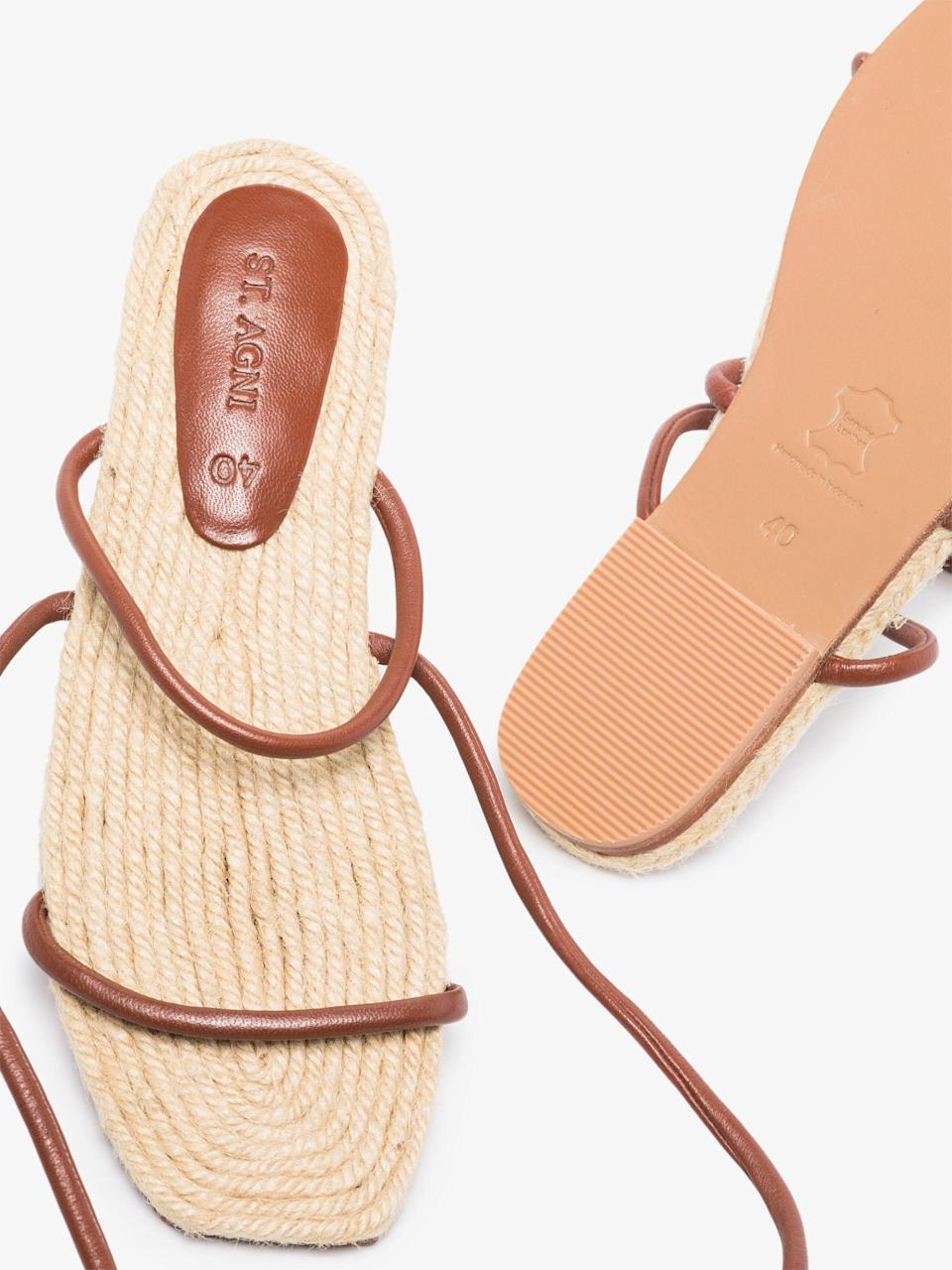 """<br><br><strong>St. Agni</strong> Brown Leo Ankle Tie Leather Sandals, $, available at <a href=""""https://go.skimresources.com/?id=30283X879131&url=https%3A%2F%2Fwww.brownsfashion.com%2Fshopping%2Fst-agni-brown-leo-ankle-tie-leather-sandals-16055384%3Ffsb%3D1"""" rel=""""nofollow noopener"""" target=""""_blank"""" data-ylk=""""slk:Browns"""" class=""""link rapid-noclick-resp"""">Browns</a>"""