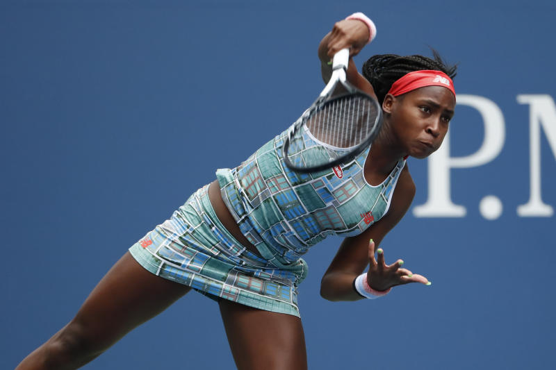 Aug 27, 2019; Flushing, NY, USA; Coco Gauff of the United States serves against Anastasia Potapova of Russia (not pictured) in the first round on day two of the 2019 U.S. Open tennis tournament at USTA Billie Jean King National Tennis Center. Mandatory Credit: Geoff Burke-USA TODAY Sports
