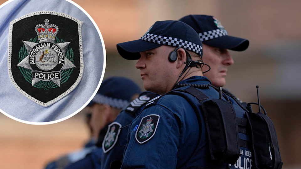 Image of Australian Federal Police officers and badge.