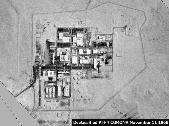 While the details of Israel's nuclear capacity is a tightly held state secret, estimates put the size of the country's nuclear warheads at anything between 80 and 300. Israel's main reginal enemies are states such as Iran, Syria and Iraq, all of which are non-nuclear. The country has also not conducted any nuclear tests so far, but is said to have acquired nuclear weapons since 1966. The SIPRI estimates that Israel has approximately 80 intact nuclear weapons, of which 50 are for delivery by Jericho II medium-range ballistic missiles and 30 are gravity bombs for delivery by aircraft. There was further speculation in 2012, as per SIPRI that Israel may also have developed nuclear-capable submarine-launched cruise missiles. <em><strong>Image:</strong></em> Completed Dimona complex as seen by US Corona satellite on November 11, 1968
