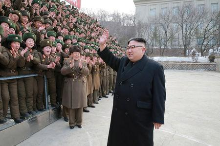 North Korean leader Kim Jong Un inspects the Headquarters of Large Combined Unit 966 of the Korean People's Army (KPA) in this undated photo released by North Korea's Korean Central News Agency (KCNA) in Pyongyang
