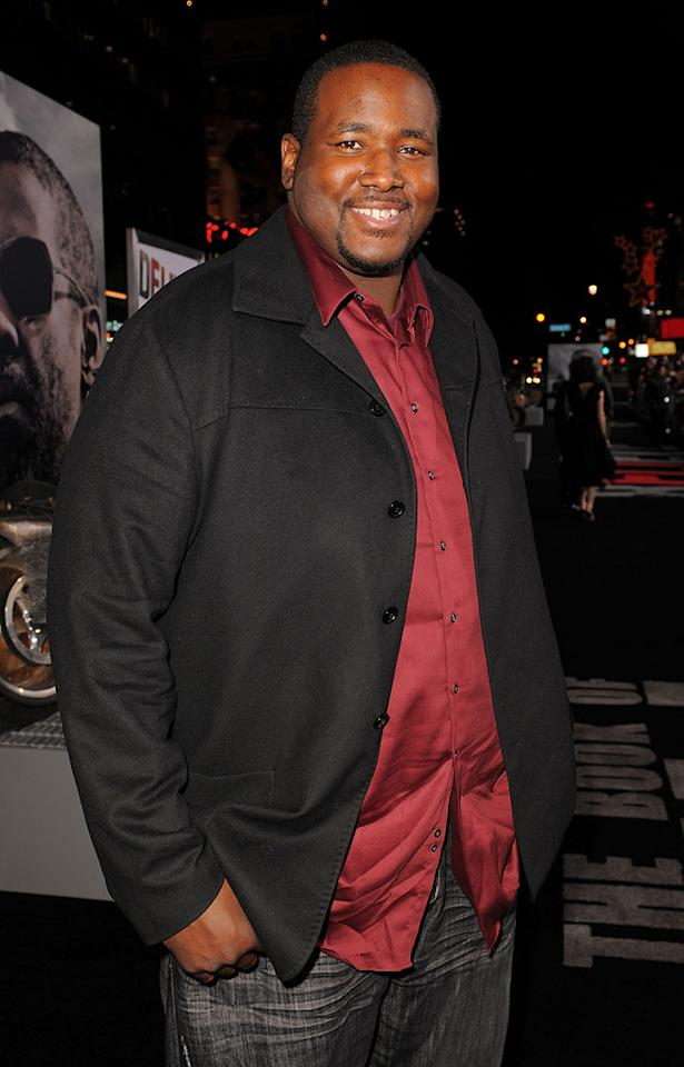 """<a href=""""http://movies.yahoo.com/movie/contributor/1810098051"""">Quinton Aaron</a> at the Los Angeles premiere of <a href=""""http://movies.yahoo.com/movie/1810067275/info"""">The Book of Eli</a> - 01/11/2010"""