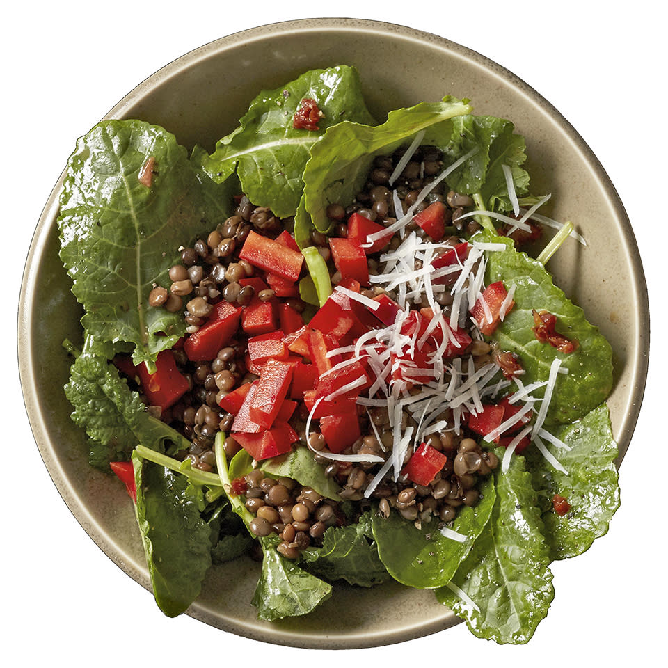 <p>The kale and lentils in this Mediterranean-inspired salad recipe are combined with sweet red peppers and a bold garlic and dried tomato vinaigrette. To cut down on prep time, we use refrigerated steamed lentils, but offer instructions on preparing your own.</p>
