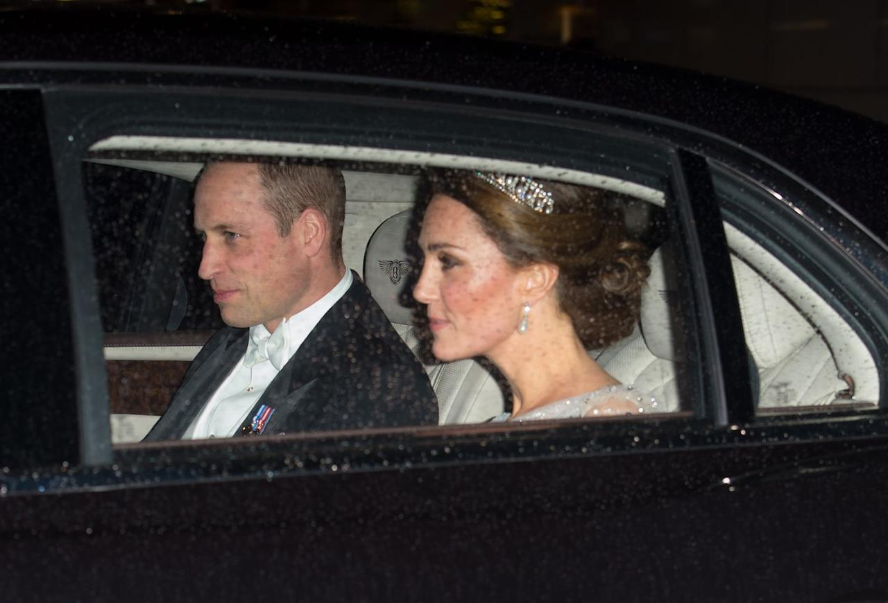 "<p>Prince William and Duchess Kate arrived at the reception at Buckingham Palace. The Duchess of Cambridge <a rel=""nofollow"" href=""https://www.townandcountrymag.com/society/tradition/a10302981/cambridge-love-knot-tiara/"">wore the Lover's Knot tiara</a>, one of her favorite tiaras. </p>"