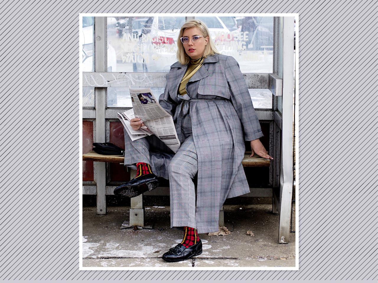 "<p>Go newsboy chic by opting for a gray plaid-on-plaid moment, like <a rel=""nofollow"" href=""https://www.fashionnova.com/collections/plus-jackets/products/pencil-you-in-long-duster-black-white"">this plaid duster from Fashion Nova Curve</a>, $30, with a pop of metallic in the top for some flare. (Photo: <a rel=""nofollow"" href=""https://www.instagram.com/p/BfrCPggn8o3/?hl=en&taken-by=jamie_jetaime"">Jamie Hamilton</a> via Instagram) </p>"