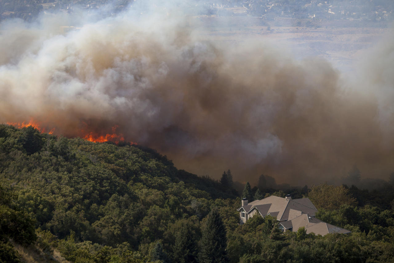 <p>A wildfire burns through residential areas near the mouth of Weber Canyon near Ogden, Utah, on Sept. 5, 2017. (Photo: Benjamin Zack/Standard-Examiner via AP) </p>