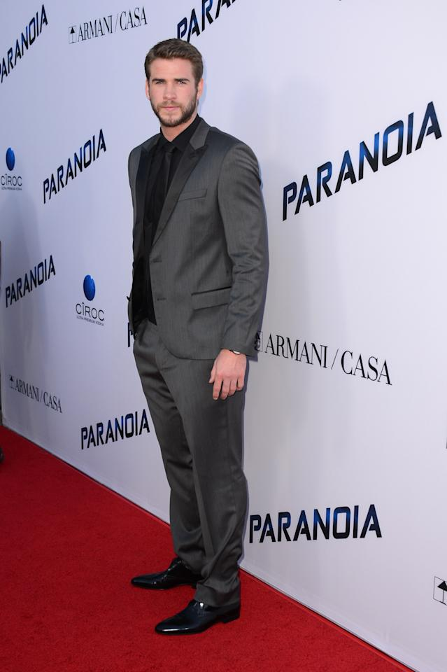 """Actor Liam Hemsworth arrives at the U.S. premiere of """"Paranoia"""" at the DGA Theatre on Thursday, Aug. 8, 2013 in Los Angeles. (Photo by Jordan Strauss/Invision/AP)"""
