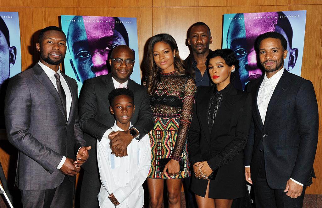 <p>(L-R) Trevante Rhodes, director Barry Jenkins, Alex Hibbert, Harris, Mahershala Ali, Monae, and Andre Holland pose together at the premiere on Oct. 13. (Photo: Jerod Harris/Getty Images) </p>
