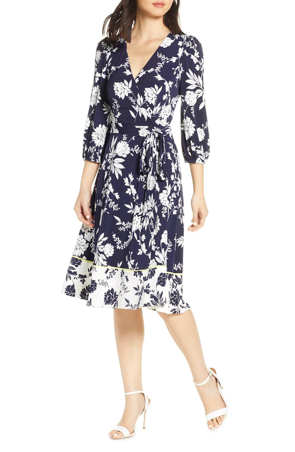 """<p><strong>ELIZA J</strong></p><p>nordstrom.com</p><p><strong>$88.80</strong></p><p><a href=""""https://go.redirectingat.com?id=74968X1596630&url=https%3A%2F%2Fshop.nordstrom.com%2Fs%2Feliza-j-floral-print-faux-wrap-dress-regular-petite%2F5179898&sref=https%3A%2F%2Fwww.townandcountrymag.com%2Fstyle%2Ffashion-trends%2Fg12096491%2Fbest-fall-wedding-guest-dresses%2F"""" rel=""""nofollow noopener"""" target=""""_blank"""" data-ylk=""""slk:Shop Now"""" class=""""link rapid-noclick-resp"""">Shop Now</a></p><p>If you're not ready to give up your floral print summer favorites, this wrap-style dress takes them into a new season with a fall-appropriate palate. </p>"""