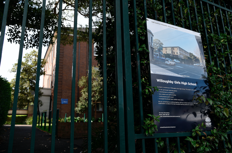 The Willoughby Girls High School is pictured in Sydney on March 9. Willoughby Girls High School was closed after a 12-year-old year 7 pupil was confirmed as having coronavirus.