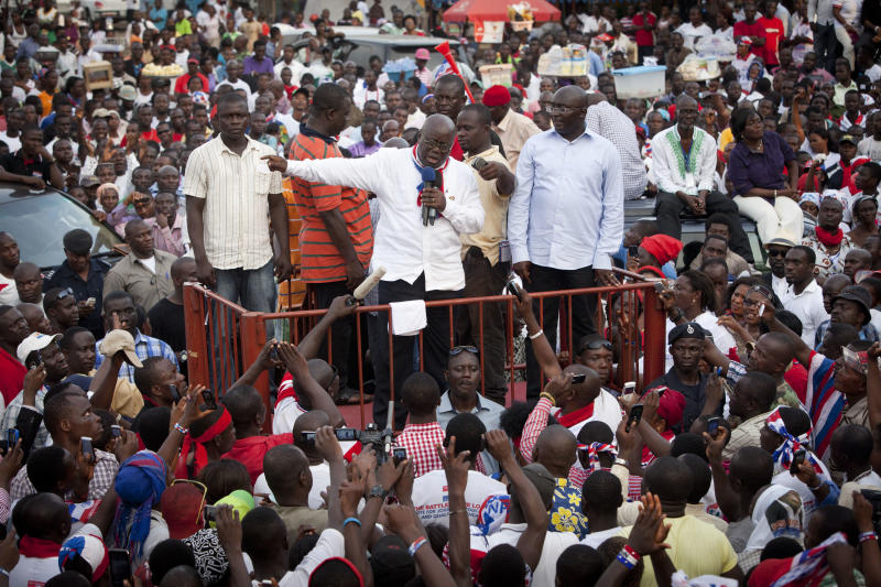 Nana Akufo-Addo, center, presidential candidate of the opposition New Patriotic Party, addresses supporters during a rally protesting the results of last Friday's presidential election, in Accra, Ghana, on Tuesday, Dec. 11, 2012. Ghana's opposition party said Tuesday that they plan to contest the results of the election, ignoring the appeals of the international community, which fears that a protracted political fight could destabilize one of the only established democracies in the region. Akufo-Addo, who lost the 2008 presidential election by less than one percent, finished with 47.7 percent of Friday's vote, placing him second behind President John Dramani Mahama. (AP Photo/Gabriela Barnuevo)