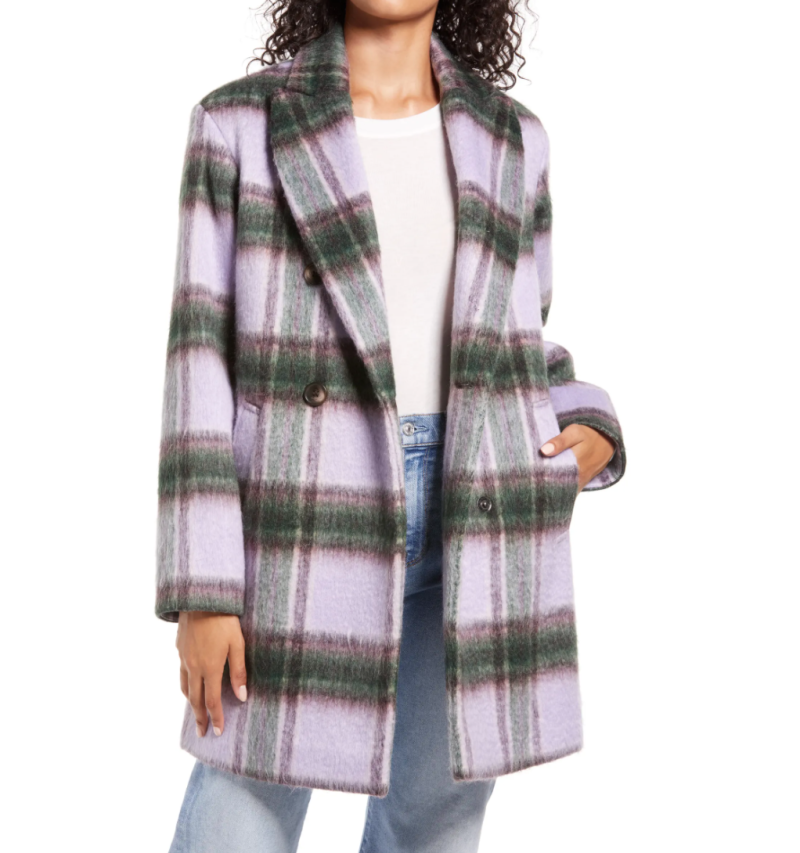 Halogen Plaid Brushed Coat in Purple-Green Plaid (Photo via Nordstrom)