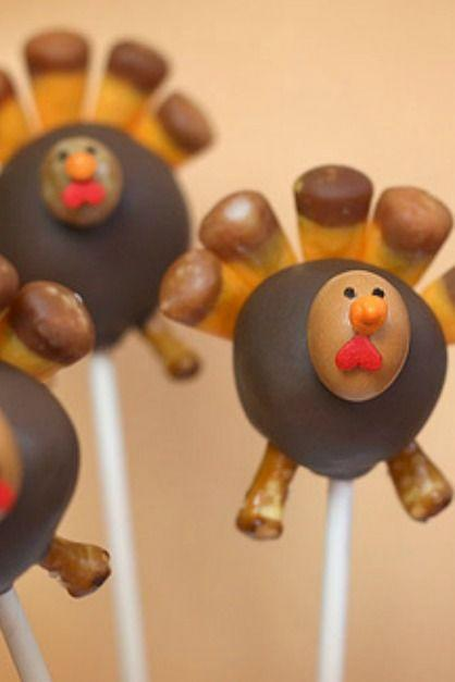 """<p>Turn these popular treats into an adorable gaggle of gobblers. Angie from <a href=""""http://www.bakerella.com/"""" rel=""""nofollow noopener"""" target=""""_blank"""" data-ylk=""""slk:Bakerella.com"""" class=""""link rapid-noclick-resp"""">Bakerella.com</a> created these Thanksgiving turkeys using snacks such as caramel-dipped candy corn (for feathers) and coated espresso beans (for faces).</p><p><strong>Get the tutorial at <a href=""""http://www.bakerella.com/youll-want-to-gobble-these-right-up/"""" rel=""""nofollow noopener"""" target=""""_blank"""" data-ylk=""""slk:Bakerella"""" class=""""link rapid-noclick-resp"""">Bakerella</a>.</strong></p><p><a class=""""link rapid-noclick-resp"""" href=""""https://www.amazon.com/Lollipop-sticks-100-count-inch/dp/B000W5CGR8/?tag=syn-yahoo-20&ascsubtag=%5Bartid%7C10050.g.1201%5Bsrc%7Cyahoo-us"""" rel=""""nofollow noopener"""" target=""""_blank"""" data-ylk=""""slk:SHOP LOLLIPOP STICKS"""">SHOP LOLLIPOP STICKS</a></p>"""