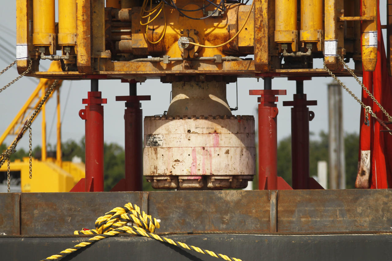<p>               FILE - In a Sept. 13, 2010 file photo, the bottom of the blowout preventer stack, from the Deepwater Horizon explosion and oil spill, which is being examined as evidence for federal investigations, is seen at the NASA Michaud Assembly facility in New Orleans. BP PLC said Friday, Dec. 16, 2011, it will be paid $250 million by the maker of the blowout preventer that failed to halt oil spewing from BP's busted well in the Gulf of Mexico. (AP Photo/Gerald Herbert, File)