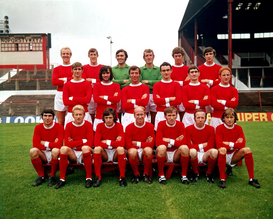 (top row l-r) Ian Ure, Alan Gowling, Jimmy Rimmer, Alex Stepney, Brian Kidd, Steve James. (middle row l-r) Paul Edwards, George Best, David Sadler, John Aston, Francis Burns, Carlo Sartori. (front row l-r) Tony Dunne, Denis Law, Willie Morgan, Bobby Charlton, Pat Crerand, Nobby Stiles, John Fitzpatrick (Photo by Peter Robinson/EMPICS via Getty Images)
